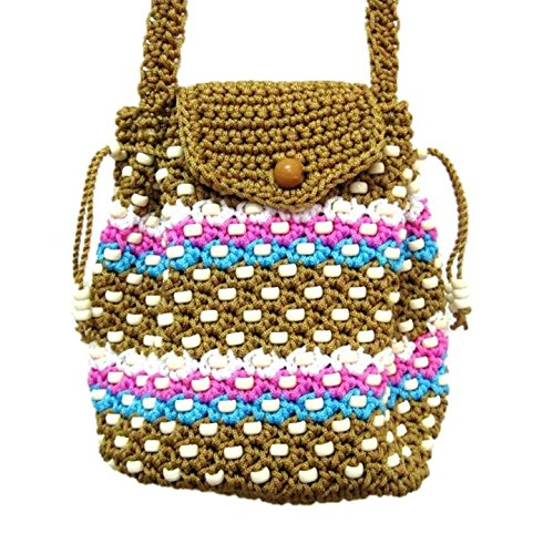 Hand Crochet Handbags Small Drawstring Crossbody Bags for Women (Brown)