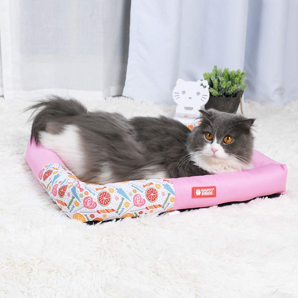 2 Small 2 Small YQQ Summer Cat Nest Kennel Doghouse Sleeping Pad Pet Supplies PP Cotton Washable (color   2, Size   S)