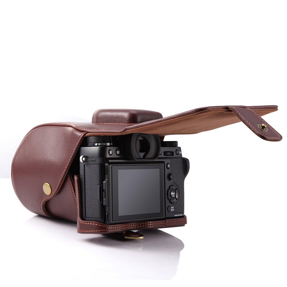 Correa Para Cámara Fujifilm X-T2 XT2 18-55 mm abierto inferior Bolsa de cuero caso cubierta