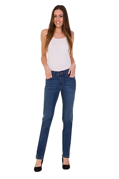 cf150d04ba947 Ex High Street Brand Ladies Straight Leg Jeans - Mid Rise Cotton Denim with  Added Stretch