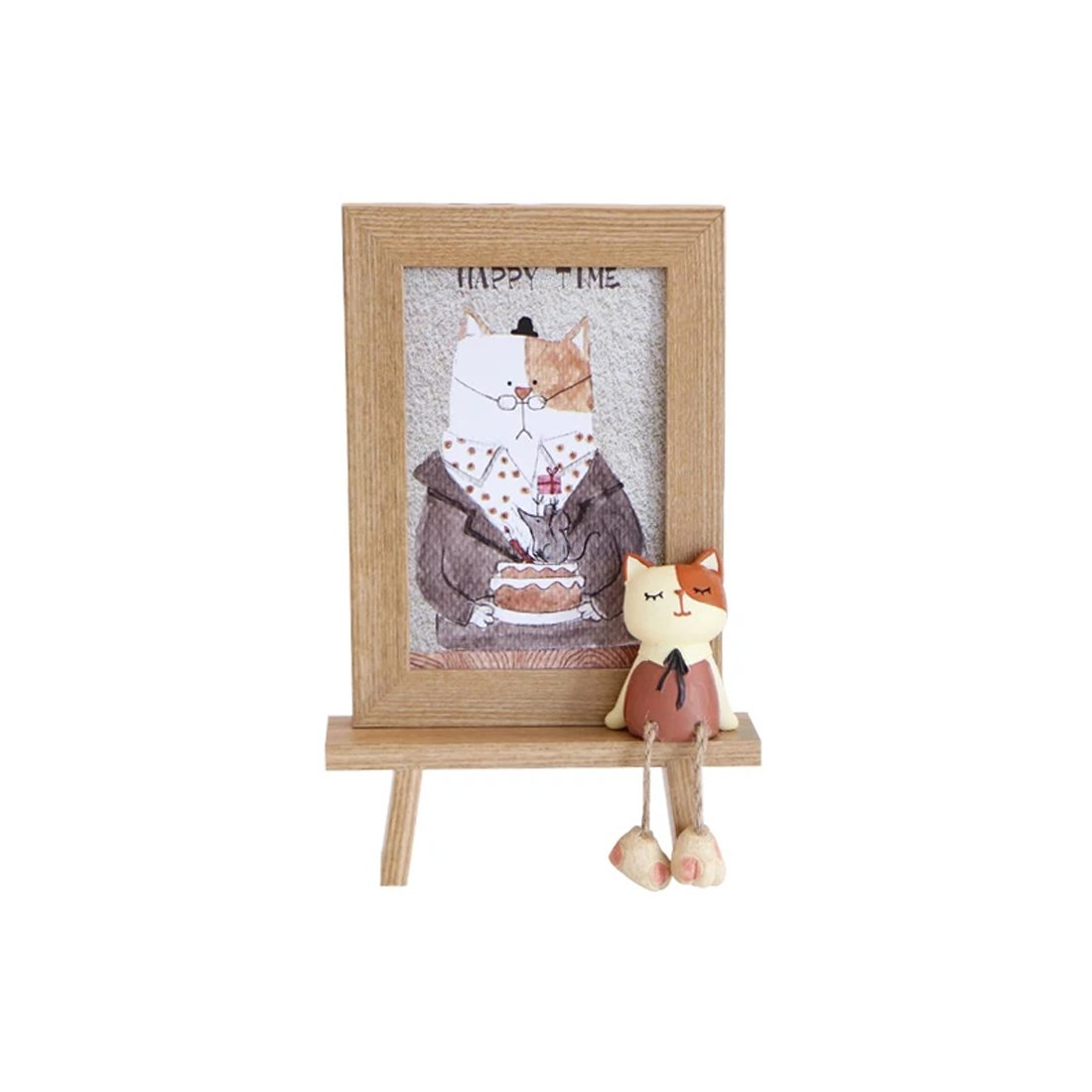 DecentGadget 4X6 Wooden Animal Picture Frame With Artificial Cat (Girl)