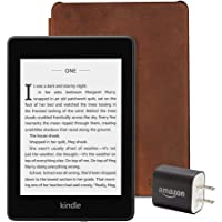 All-new Kindle Paperwhite Essentials Bundle including Kindle Paperwhite 32GB - Wifi with Special Offers, Amazon Premium Leather Cover - Rustic, and Power Adapter
