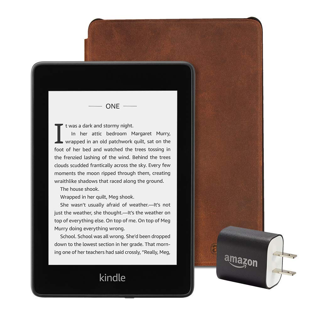 Wifi with Special Offers Premium Leather Cover Rustic All-new Kindle Paperwhite Essentials Bundle including Kindle Paperwhite 32GB and Power Adapter
