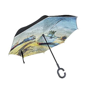 BENNIGIRY Paraguas Inverso Plegable de Doble Capa, Azul Mar del Norte, Paraguas Reverso Plegable