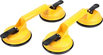 Suction Cups Lifter,Heavy Duty Aluminum Vacuum Handles Sucker for Moving Glass//Floor Gap Fixer//Dent Puller//Tile,Pad Lifting