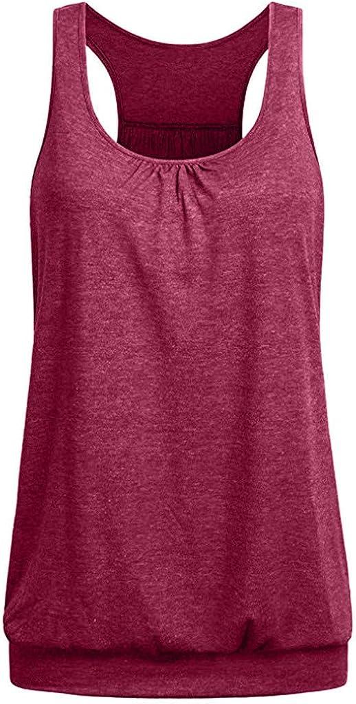 Longra Canotta Donna Eleganti Taglie Forti Top Sportivo Fitness Sportiva Tank Yoga Running Maglietta Estivi Canotte Camicia Elegante Maglia Bluse T-Shirt Magliette Estate Senza Maniche