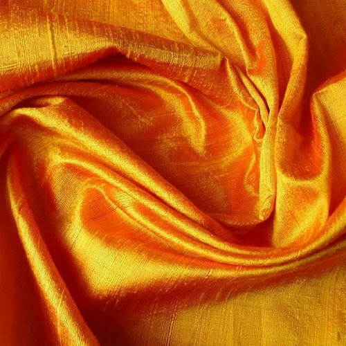 "42"" Wide Saffron Silk - 100 Percent Pure Silk Dupioni Fabric By the Yard"