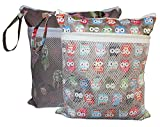 Wet Dry Cloth Diaper Bags 2 pcs Set by Sleeping Lamb (Giraffe and Owls)