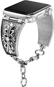 [Chrome Floral Version] Somoder Bling Bands Compatible with Apple Watch Band 38mm 40mm, Vintage Chain Jewelry Cuff Bracelet with Rhinestone Replacement for Iwatch Series 4/3/2/1, Sport Edition, Nike+
