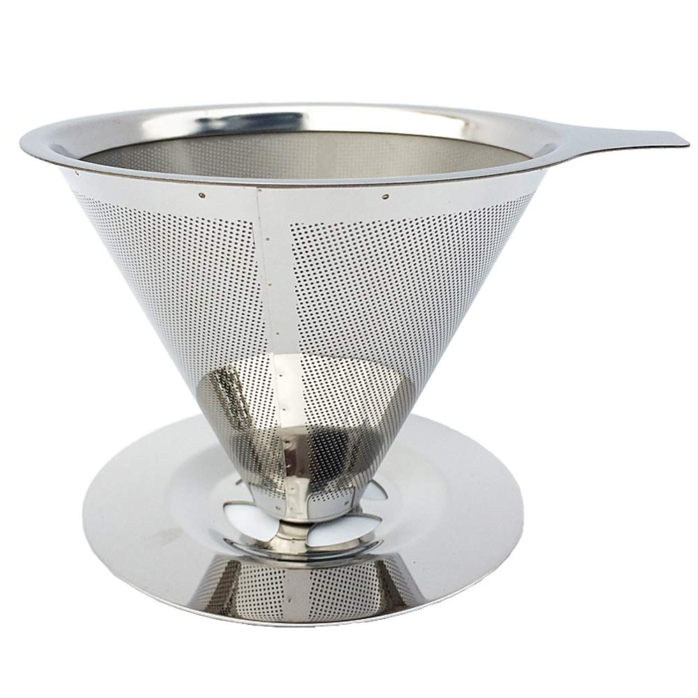 Ultra Fine Double Layer Pour Over Coffee Dripper- Food Grade 18/8 (304) Stainless Steel, With Handle and Cup Stand, Fits Most Mugs,Cups And Teapots