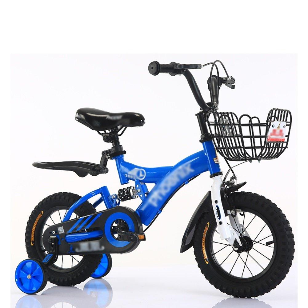 子供ペダルバイク子供用自転車2-10歳の赤ちゃん少女キャリッジバイク黄色の青い赤 B07DV5Y7Y4 12 inch|青 青 12 inch