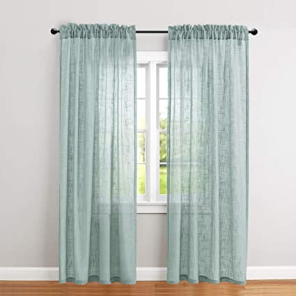 Swell Jinchan Linen Textured Sheer Curtains Rod Pocket Drapes For Bedroom Curtain Panels For Living Room Window Patio Door 2 Panels 52 By 84 Inch Long Blue Best Image Libraries Thycampuscom