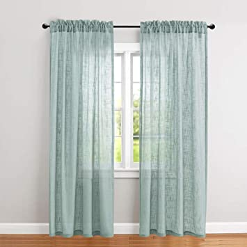 jinchan Linen Textured Sheer Curtains Rod Pocket Drapes for Bedroom Curtain  Panels for Living Room Window/Patio Door 2 Panels 52 by 84 Inch Long Blue  ...