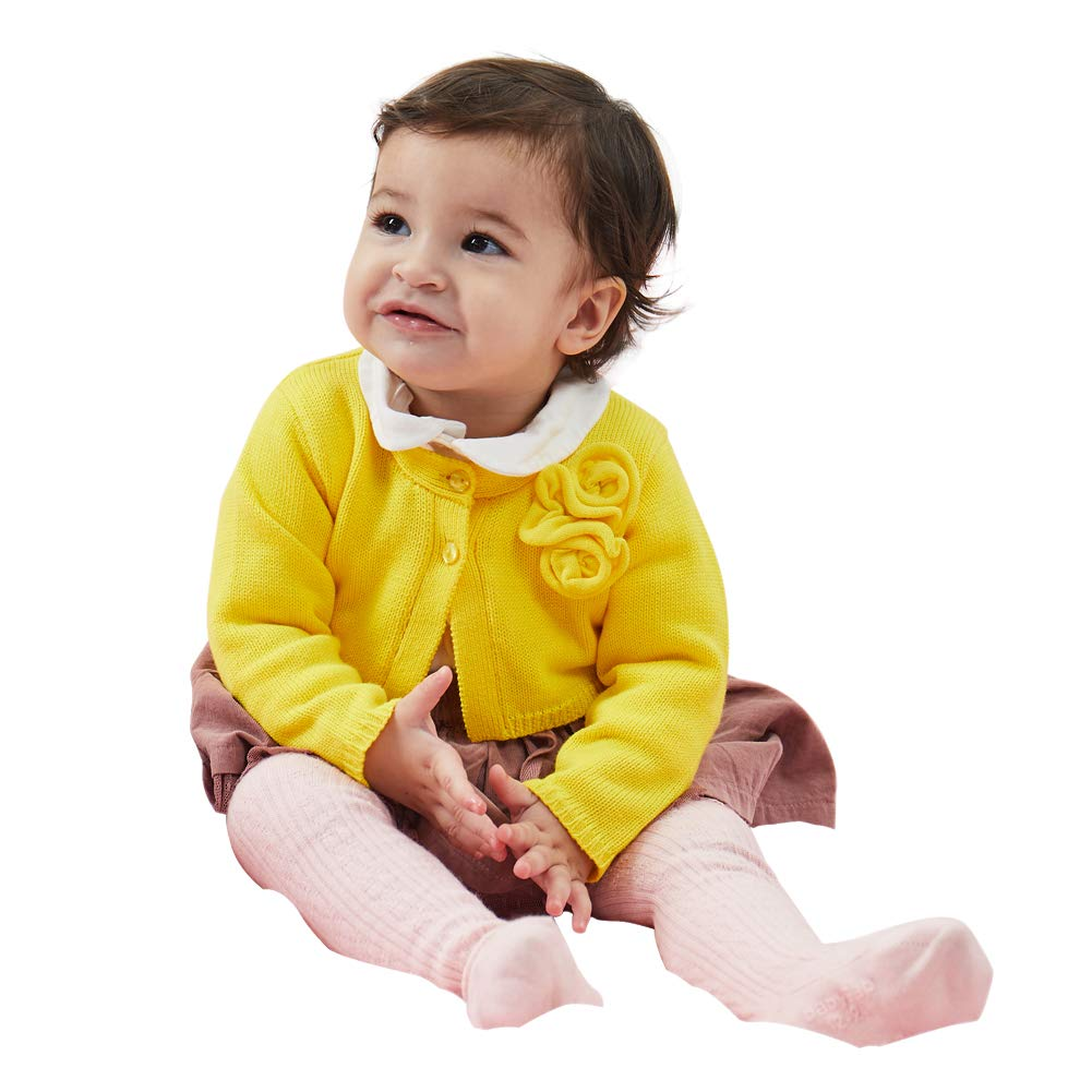 PETIT CLAN Baby Girl Cardigan Sweater Long Sleeve Flower Decorative at Chest Yellow by PETIT CLAN