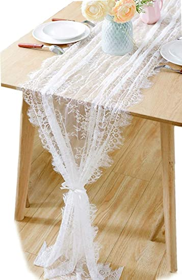 Boxan Gorgeous White Lace Table Runner 30x120 Inches Rustic Chic Tabletop Wedding Reception Table Decor Boho Party Decoration Baby Bride Shower
