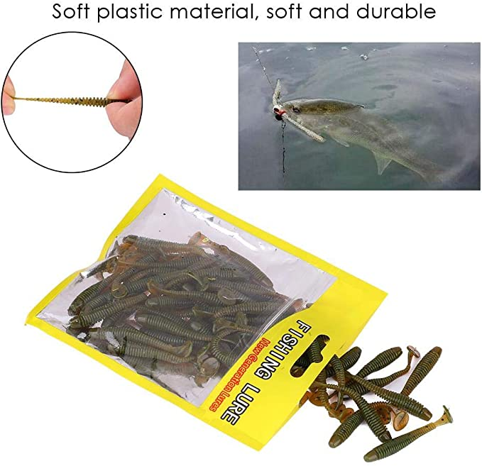 Assorted Tail Grub Soft Worm Kunststoffköder Micro  Head Tackle Bait