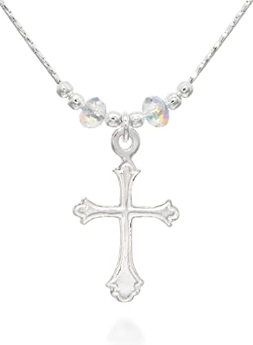 6b66f5ebc614bd Ornate Cross Pendant Made with Original Swarovski AB Crystals Sterling  Silver Necklace