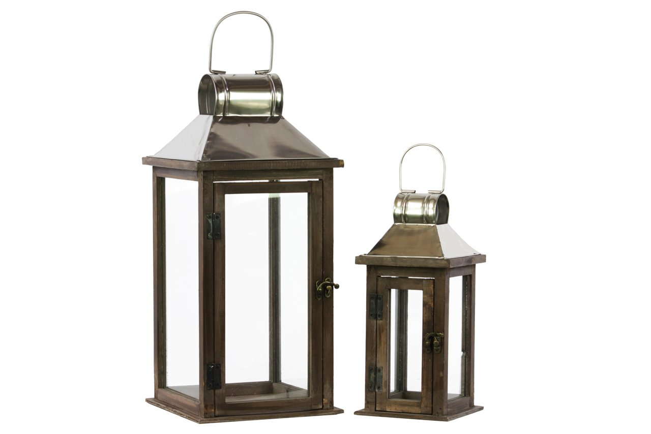 Urban Trends Wood Square Lantern with Chrome, Silver Metal Top, Ring Hanger and Glass Windows, Stained Wood Finish, Set of 2