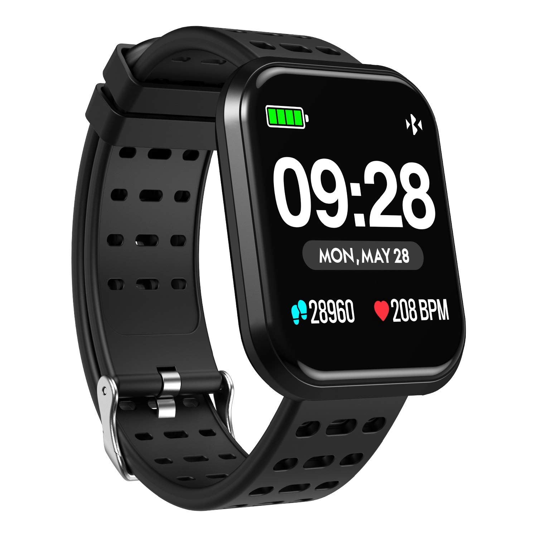 Surpro Smart Watch, Wearable Bluetooth Running GPS Fitness Tracker Watch with Heart Rate Monitor, Waterproof Smart Wristband Pedometer Watch for Kids Woman Man, Black