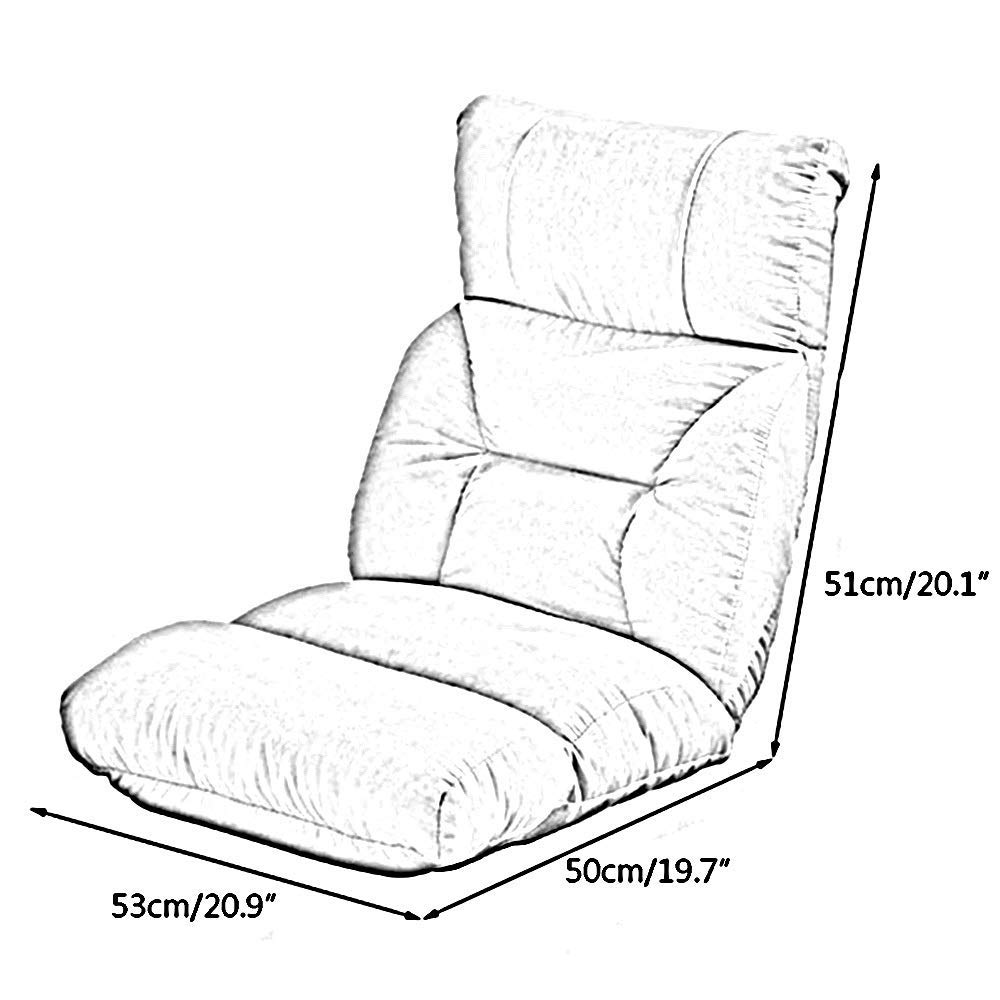 JIEER-C stol golvstol ergonomi golvstol 6-positions nackstöd justering vikbar stol avtagbar och tvättbar lat soffa 6 ryggstödjusteringar meditationsstol, gul Rosa