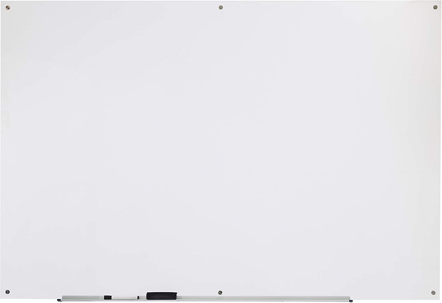 AmazonBasics Glass Dry-Erase Board - Frosted, Non-Magnetic, 6' x 4'