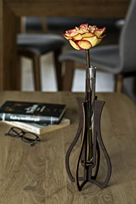 Long Bud Vase, Glass Test Tube Vase, Assembled Vase, Home Decor Rustic, Wedding Gift For A Couple, Anniversary Gift For Wife, Wooden Anniversary Gift