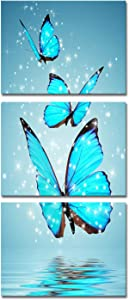 3 Panel Canvas Print Blue Butterfly Wall Art Flower Painting on Canvas Contemporary Artwork for Home Living Room Bedroom Wall Decor Ready to Hang 12x16inchx3pcs