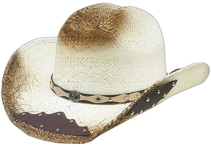 545c02b4247a4 Modestone Straw Cowboy Hat Metal Diamond Concho Studs Appliques Brim Beige   Amazon.co.uk  Clothing