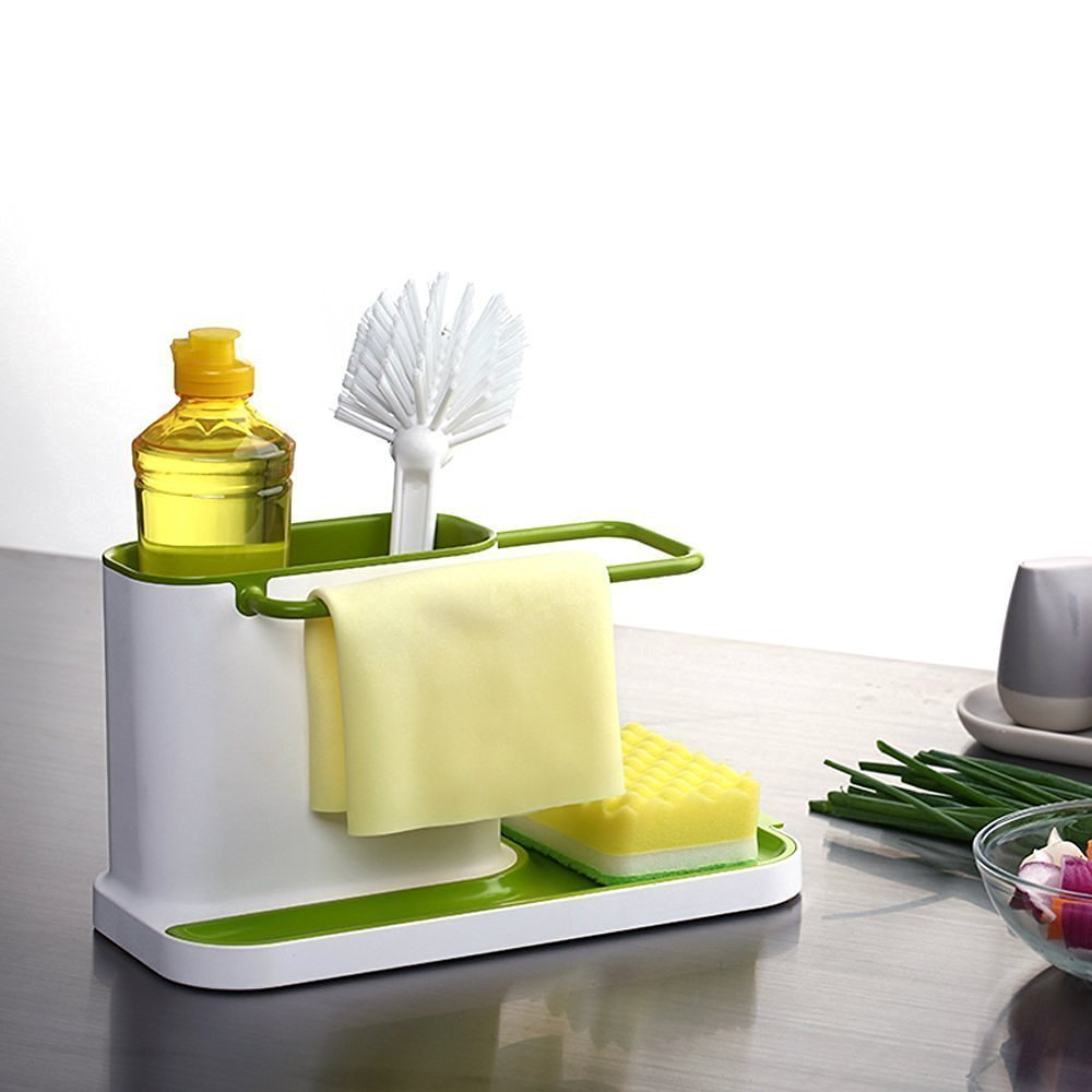 ININDIA 3 IN 1 Stand for Kitchen Sink for Dishwasher Liquid, Brush, Sponge, Soap Bar And More