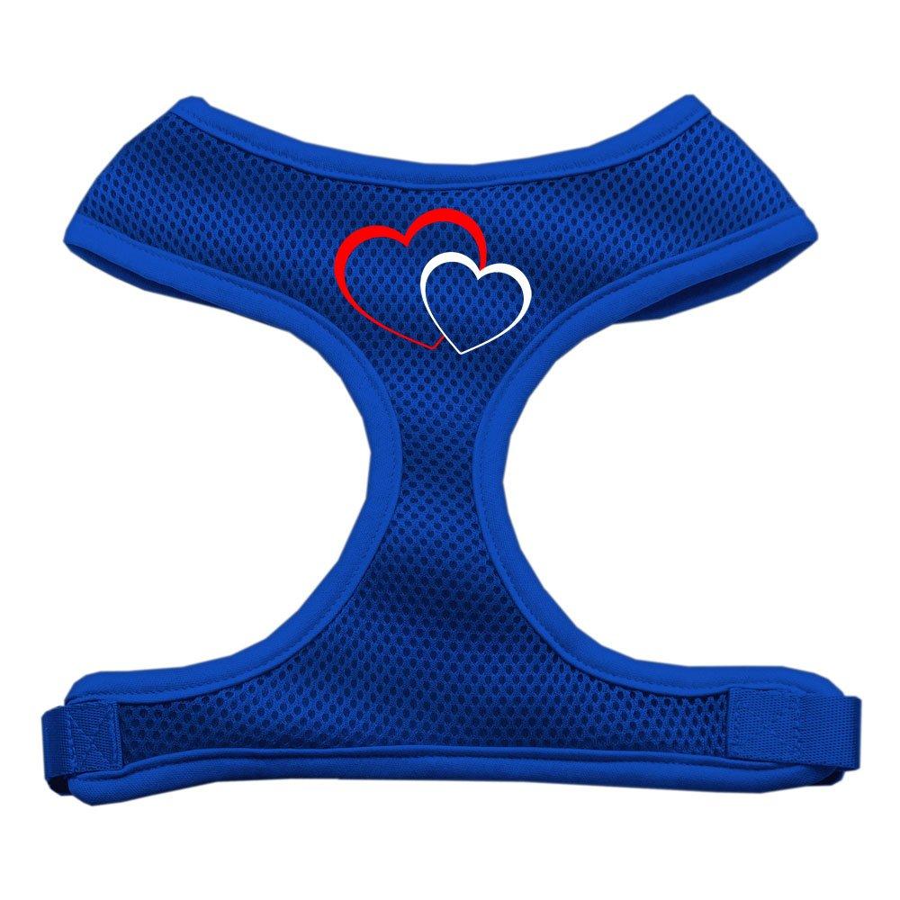 Double Heart Design Soft Mesh Harnesses bluee Medium