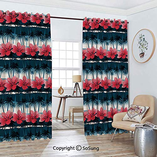 Foil Palm Tree Silhouette - Thermal Insulated Blackout Patio Door Drapery,Tropical Hibiscus Flowers with Palm Tree Silhouettes Pattern Room Divider Curtains,2 Panel Set,100