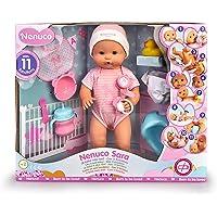 Nenuco - Sara, muñeca 11 funciones interactivas: cierra los ojos, come papilla, bebe biberón, hace babitas, pipí en…