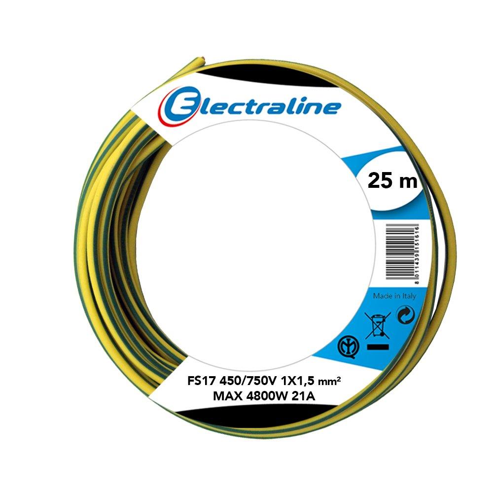 Section 1/x 1.5/mm/² Electraline 13102/C/âble unipolaire FS17 Jaune//Vert 25/m