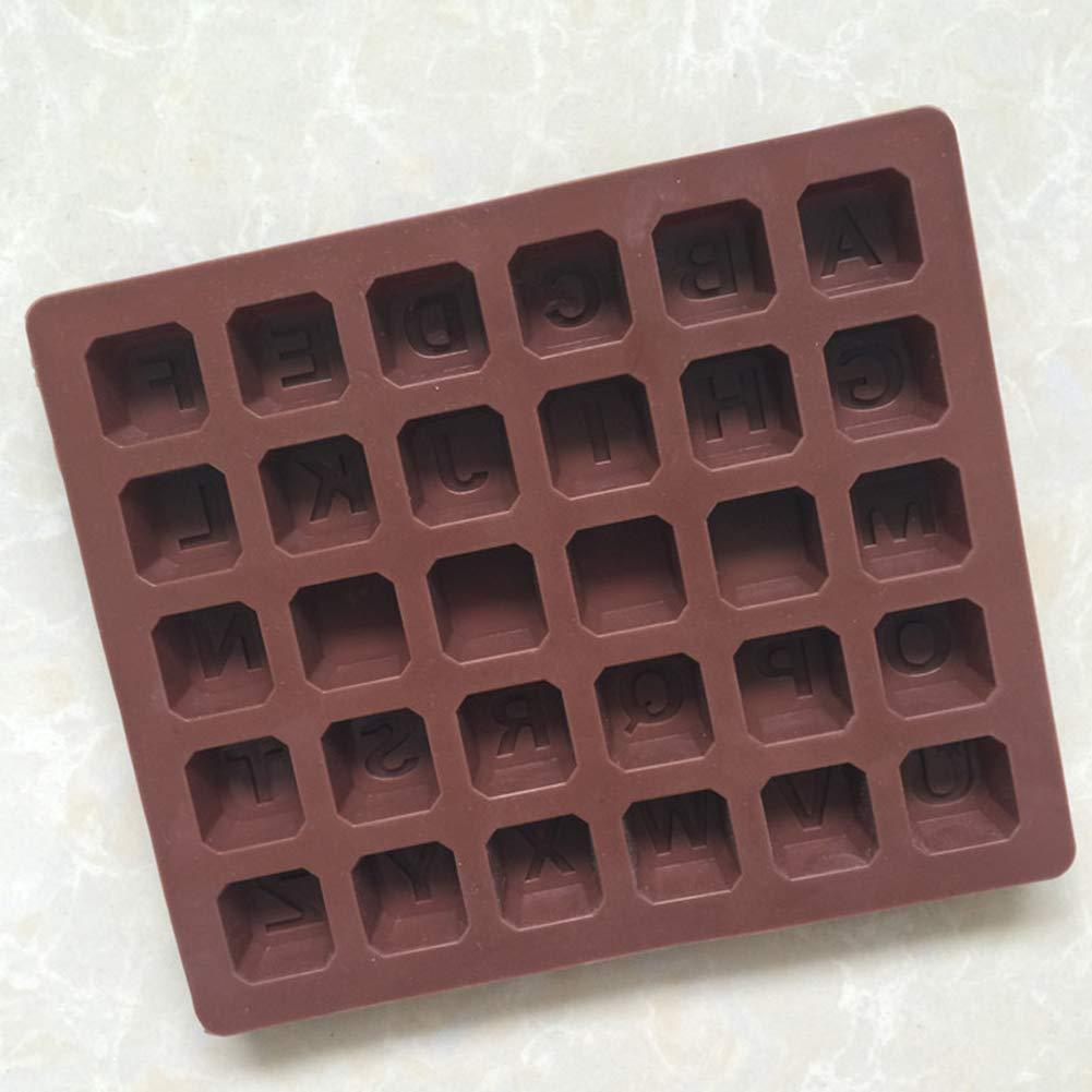Naisicatar Bandeja de Silicona moldes de Chocolate Alfabeto práctico Letras en Blanco moldea DIY para la Torta de la Pasta de Chocolate Galletas Dulces de ...