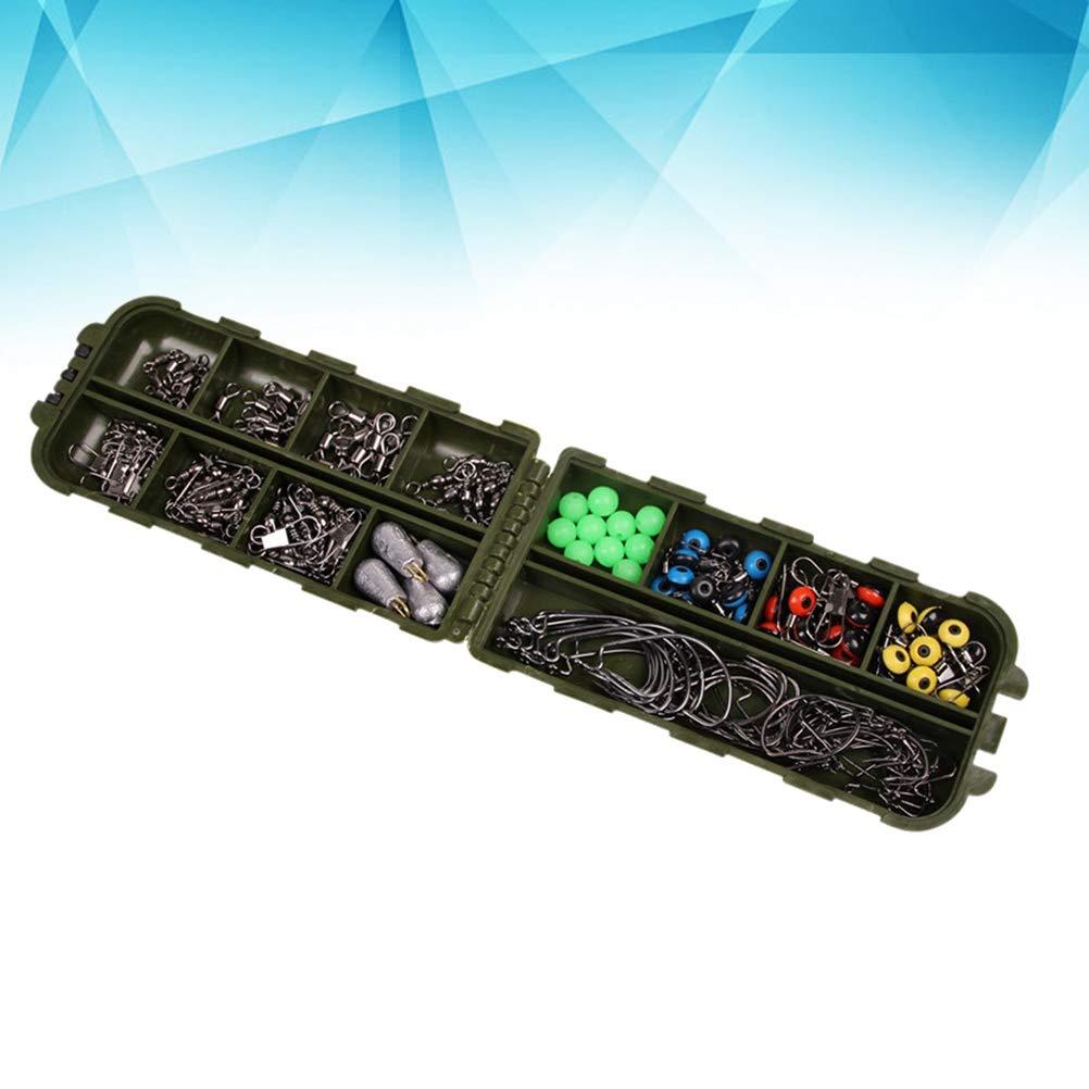 VORCOOL 64 PCS//bo/îte de p/êche bo/îte de p/êche Accessoires kit de p/êche avec des Crochets de gabarit de p/êche Poids de lenfonceur Coulisse glissi/ères de p/êche Snaps Snaps 16 Compartiment diviseur