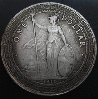 YWJHY Rame Core Argento Dollaro 1910 Rotondo Tondo Moneta d'Argento Antico,Argento,Taglia Unica