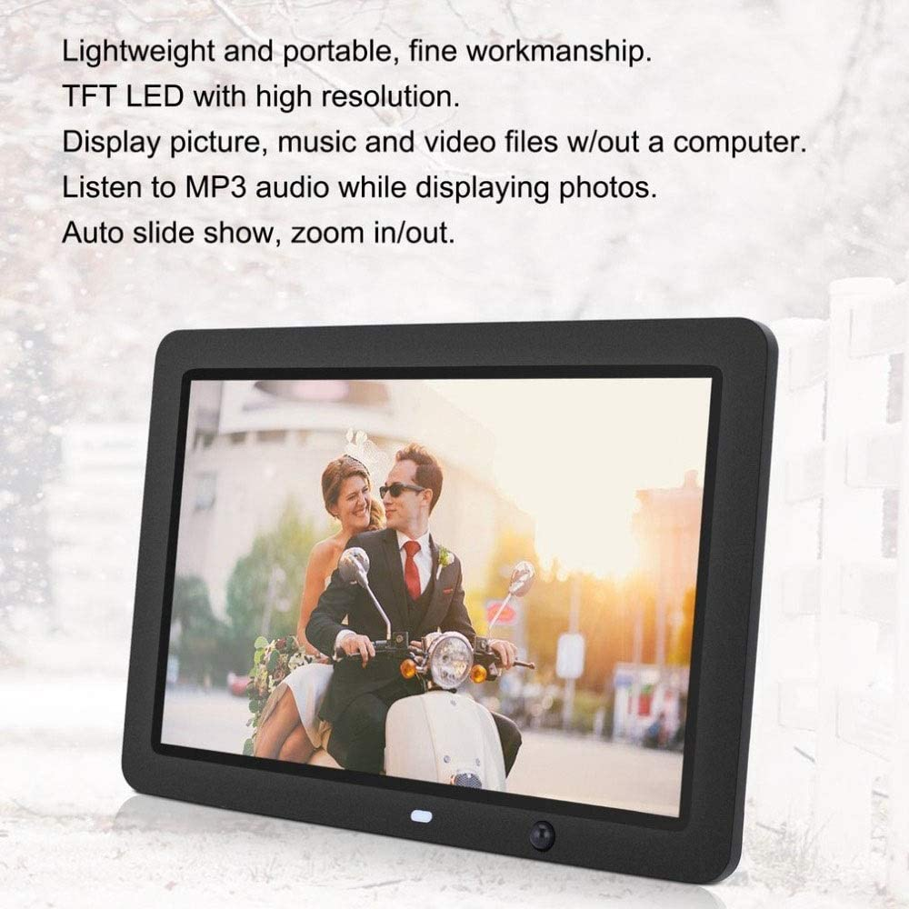 Digital Picture Frame with IPS Display 12 Inch Digital Picture Frame 1280800 Pixels High Resolution High Resolution LED Screen Motion Sensor USB And SD Card Slots And Remote Control Auto On//Off Blac