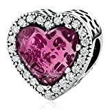 Kiss Me Sterling Silver CZ Crystal Charm Beads Fits Bracelets The Sweet Heart Beads … (Pink)
