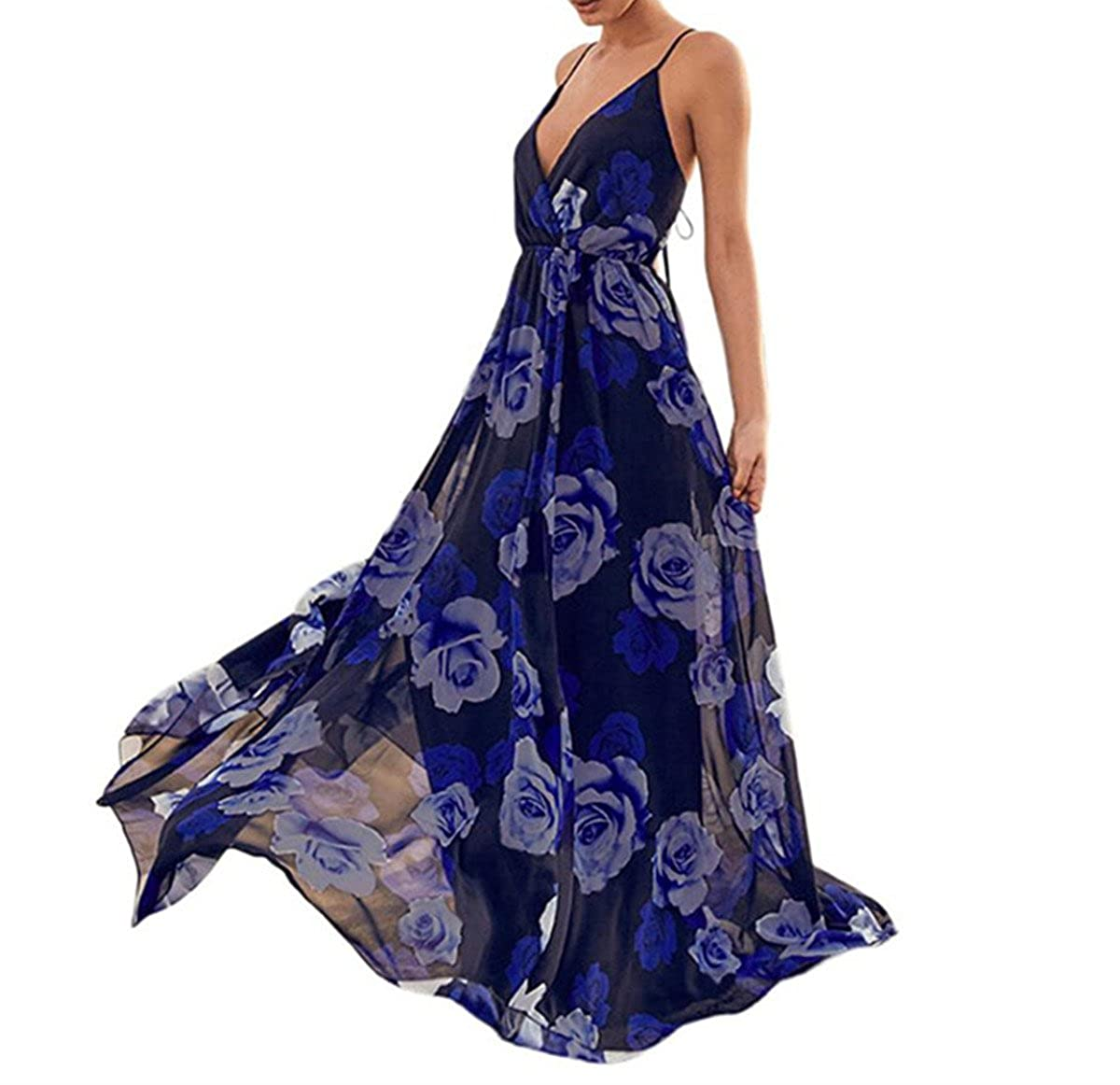 VEMOW Womens Dresses Knot Front Ruched Summer Sexy Cocktail Maxi Halter Vintage Princess Prom Sleeveless Dresses - Strappy Floral Party Flare Clubwear Beach ...