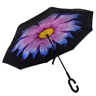 AchimeDES Windproof Double Layer Folding Inverted Umbrella, Self Stand Upside-down Rain Protection Car Reverse Umbrellas with C-shaped Handle