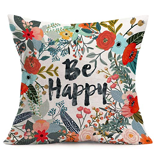Aremazing Cotton Linen Home Farmhouse Decor Pillowcase Throw Pillow Cushion Cover 18 x 18 Inches Inspirational Letters with Beautiful Flowers/Leaves (Be Happy) (Quotes Pillowcase)