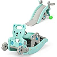 Costzon 4 in 1 Toddler Slide Rocking Toy, Portable Kids Rocking Horse Slide Toy with Basketball Hoop and Ring Game, Foldable Toddler Playground Slide Climber for Boys and Girls (Green)