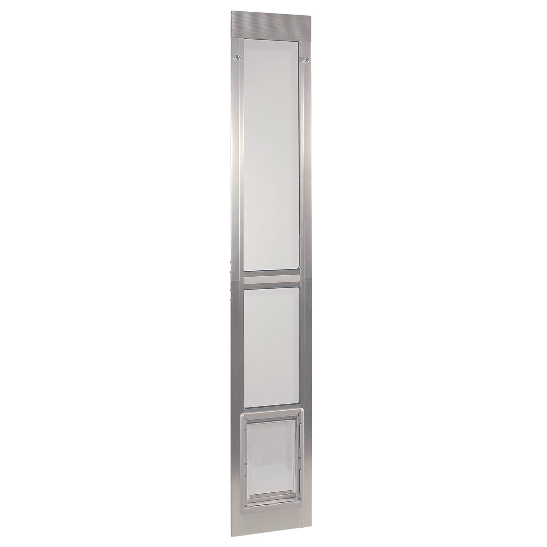 (Medium 18cm x 29cm Flap Size, Mill (Silver)) Ideal Pet Products Aluminium Modular Pet Patio Door, Adjustable Height 200cm 210cm