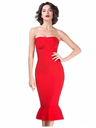 Amazon.com: Alice & Elmer Women's Rayon Knee Strapless Mermaid Bodycon  Bandage Dress Red L: Clothing