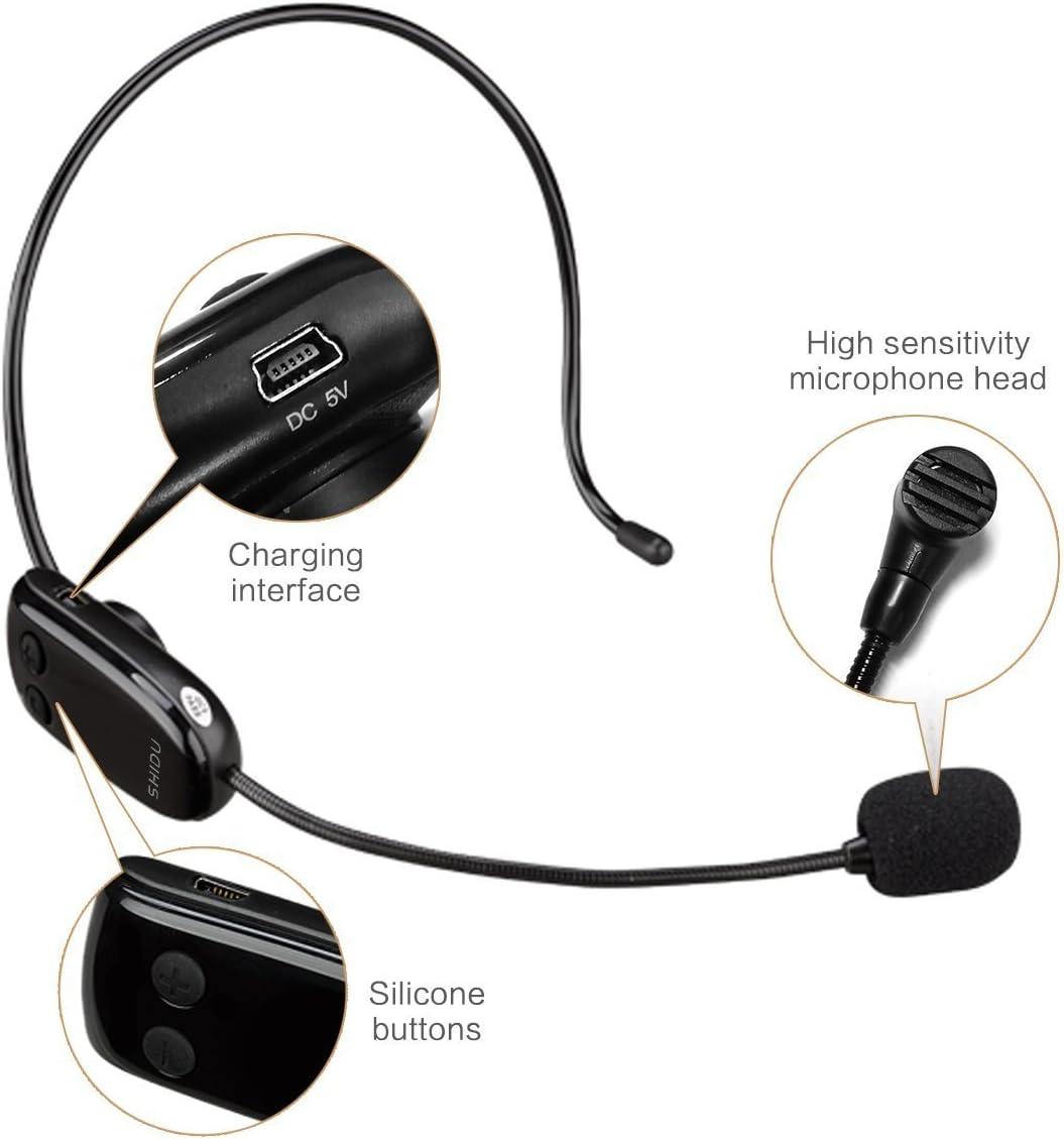 Haut-parleur Haute Puissance Microphone sans fil,XIAOKOA 2.4G Wireless Microphone,Transmission Stable sans fil de 50m,Porter un Microphone//Microphone /à main,pour Haut-parleur Amplificateur