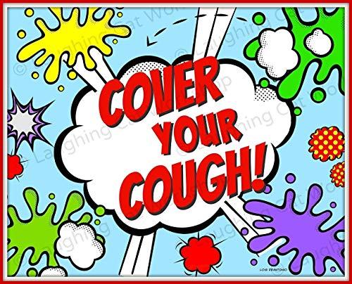 Funny bathroom art print Old School retro Superheroes comics Back to School Nurse Doctors medical office decor Kids Cover your Cough Children's Health Education Disease Prevention Poster ()