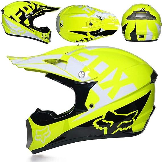56~57cm NJMSC Certificazione moto motocicletta Caschi e GUANTI e occhiali DOT bambini Quad ATV Go Kart Casco L BlueTropical