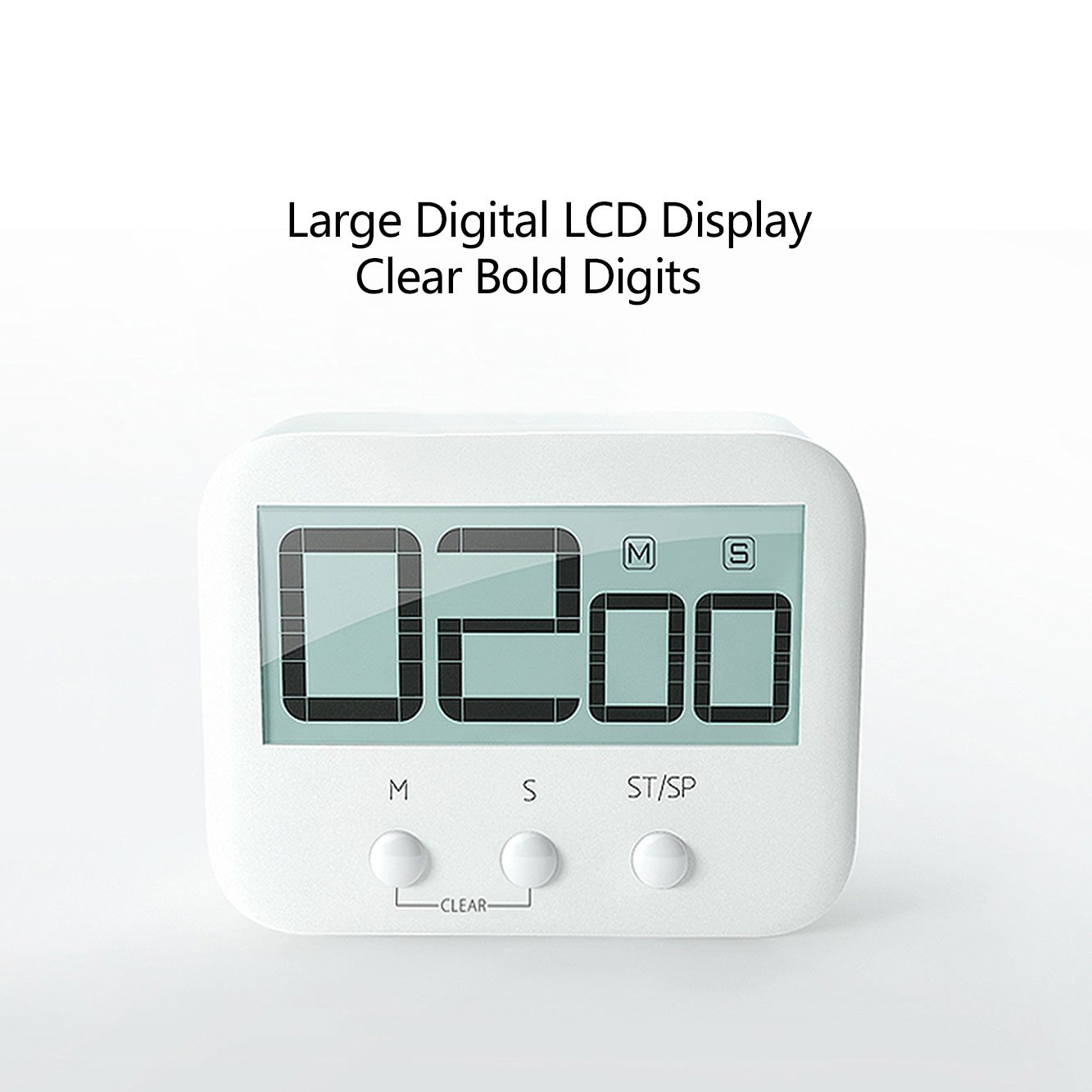Digital Kitchen Timer, KROV Cooking Timer with Loud Alarm and Large LCD Display, Magnetic Backing Kitchen Countdown Timer for Cooking Baking Homework Sports Games (2 Pack, White)