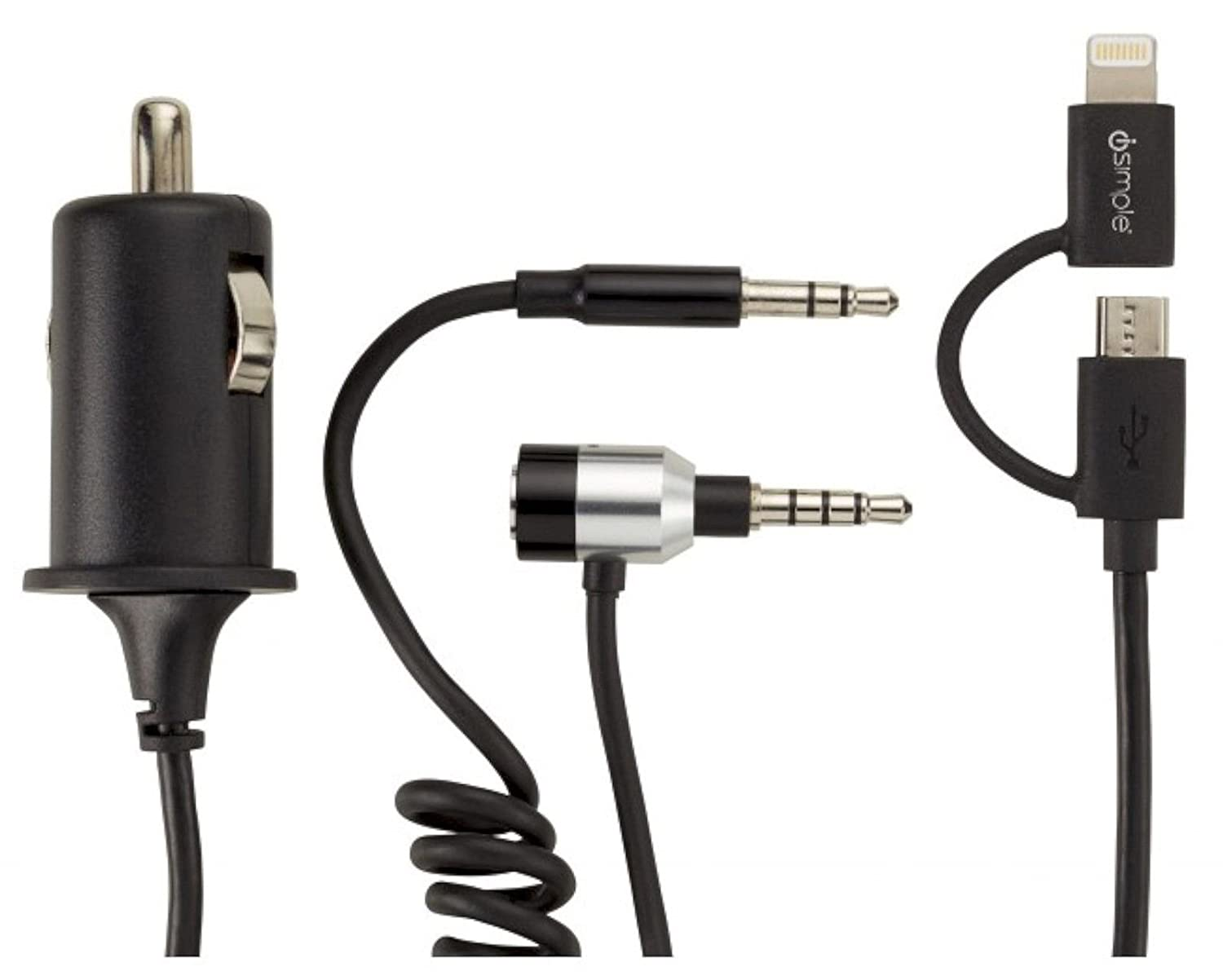 ISIMPLE calllinx All - in - One車充電ケーブルアダプタ3.5 MM Aux / Lightning / Micro USB – ismj3425 B0788TWF49