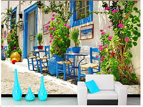 Nevso 3D Wallpaper Mural Sticker 3D Wallpaper Mural Decor Photo Backdrop European Town Building Scenery 3D Mural Wallpaper 300cmX210cm